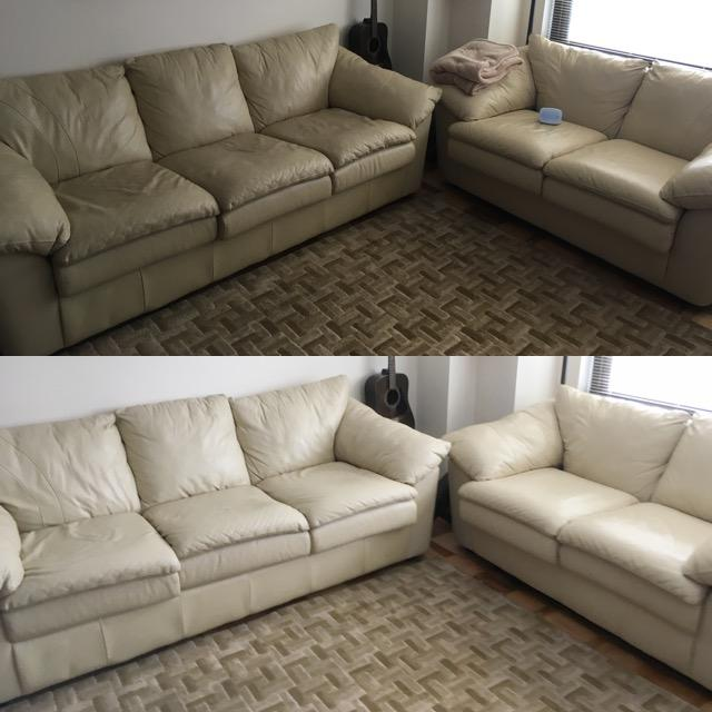 dirty and clean couch after cleaning comparison