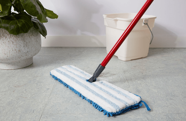 mop on the linoleum floor