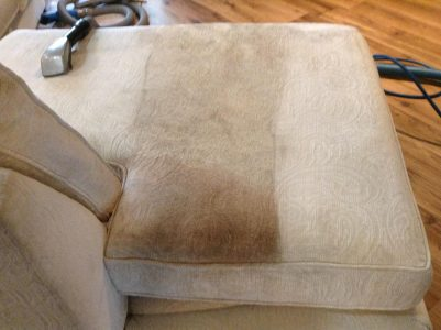 sofa with dirty and clean sides comparison